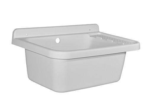 Ginaz Waschbecken, Ausgussbecken mit Ablaufgarnitur aus schlagfestem Kunststoff und flexiblen Siphon in Weiß. Maße ca. BxTxH in cm: 58 x 40 x 27 cm
