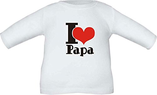 Baby / Kinder T-Shirt langarm (Farbe weiss) (Größe 10/12 - 146/152) I LOVE PAPA