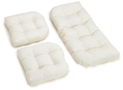 Settee Set (Blazing Needles Twill Settee Group Cushions, Eggshell, Set of 3)