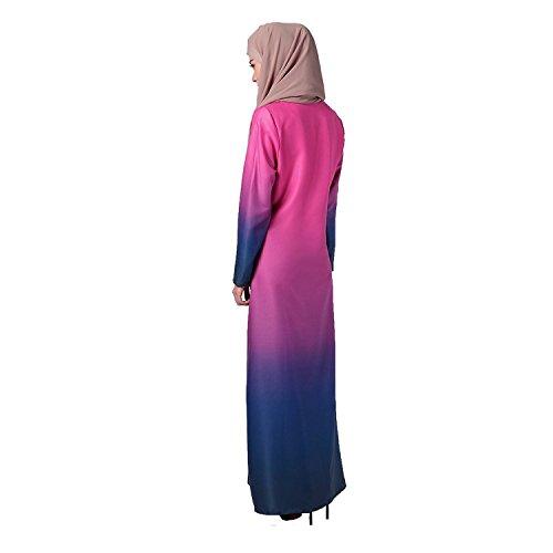 Aro Lora Abaya Arc-en-gradient Des Femmes Robe Musulmane Maxi Casual Rose