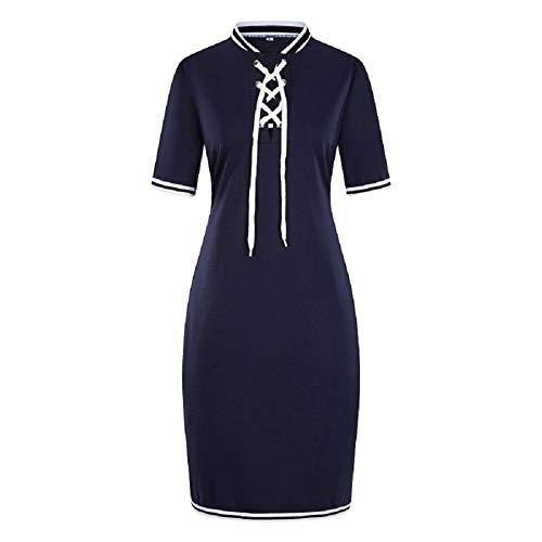 (ShinFashion Women Plus Size Cross Bandage T Shirt Polo Collar Casual Pique Short Sleeve Midi Dress,XL-6XL)