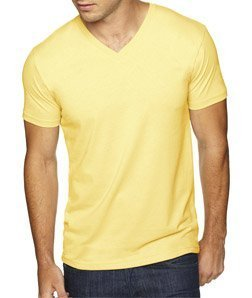 (Next Level Apparel 6440 Mens Premium Fitted Sueded V-Neck Tee - Banana Cream, 2XL)