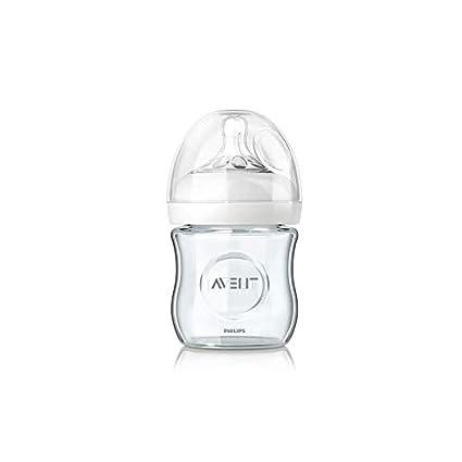 Biberón Natural Cristal AVENT 120 ml + Tetina flujo recién nacido 0 ...