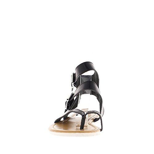 Nu-pieds noirs talon 2cm avec brides cheville et entre-doigt