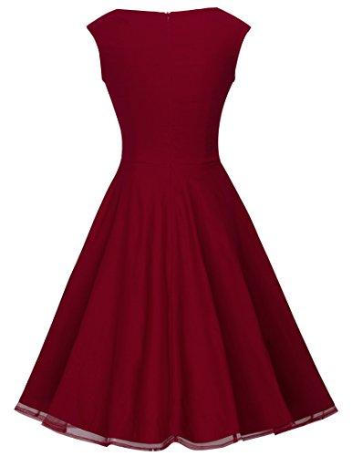 Partido Hemline Encaje Vestido Empalme línea HOMEYEE Cosecha una A003 Rojo de de Mujer Cambio Retro wxqZYqzAIW