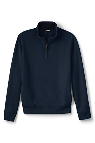 Lands' End Mens Bedford Rib Quarter Zip Sweater Radiant Navy Big and Tall 2xlt