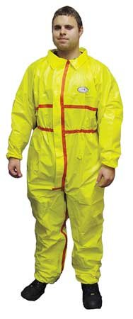 ChemSplash 1 Chemical Splash Taped Seams Protection Suit (Yellow) for Hazmat, Paint, and Light Duty Chemicals Elastic Wrist & Ankle (2XL, Case of 6)