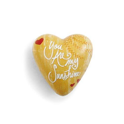 DEMDACO You are My Sunshine Yellow Heart 2 x 2 Resin Stone Art Heart Token Figurine