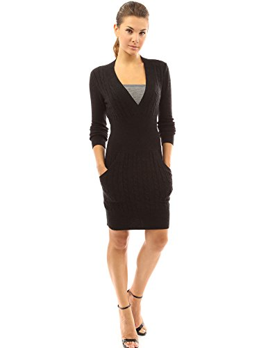 PattyBoutik Women's Deep V Neck Long Sleeve Sweater Dress (Black XL)