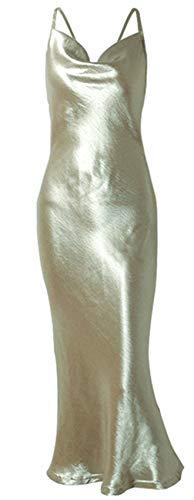 - Sleeveless Spaghetti Strap Cowl Neck Backless Satin Long Maxi Bodycon Fishtail Mermaid Dress Gold XL