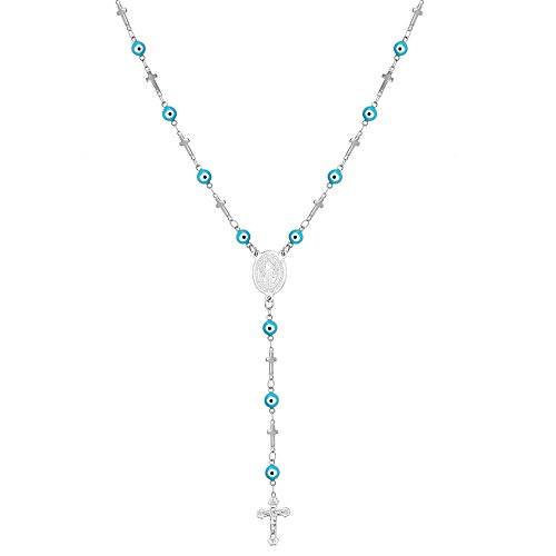 - U7 Evil Eye Cross Chain 18K Gold Plated Rosary Prayer Necklace