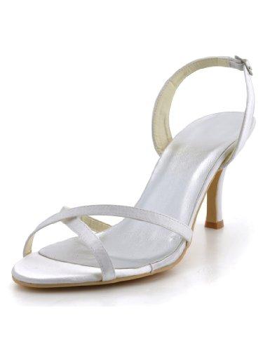 Elegantpark Ep2105 Femmes Bout Ouvert Lacets Sangles Croisées Talon Haut Satin Boucles Sandale Chaussures De Mariage Ivoire