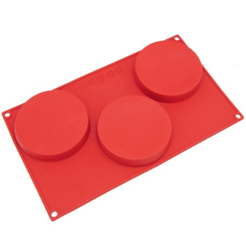 Freshware SL-116RD 3-Cavity Silicone Disc Cake, Pie, Custard, Tart and Resin Coaster Mold