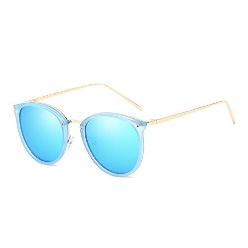 VeBrellen Plastic Frame Unisex Sunglasses Polarized TAC Mirrored Colorful Lens Driving Glasses UV400 (Blue Frame With Ice Blue Lens, 54)