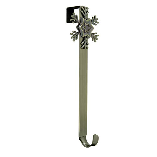 (Adjustable Length Wreath Hanger with Removable Icon (Antique Brass - Snowflake))