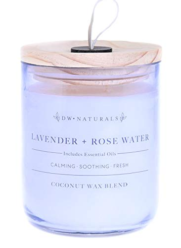 Glass Candle Coconut - DW Naturals Richly Scented Candle Lavender + Rose Water in Large Tinted Glass Jar with Wooden Lid