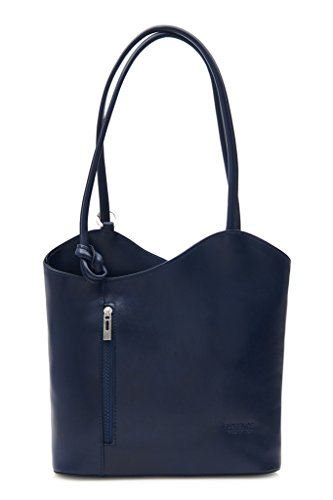 o Libby z Tubería LiaTalia cordoncillo marino Piel en como llevar Lujoso damas con mochila en de Italiana para el para hecho hombro Azul detalle legítima bolso Sin xxnU1