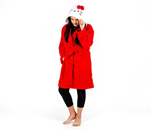 SANRIO Hello Kitty Adult Fleece Hooded Robe: Red