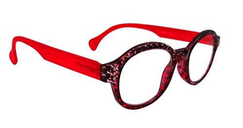 Artwear Women's Circular Logic Readers 46mm Houndstooth & red 2.75x