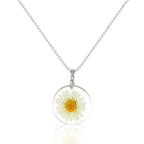 HS store Transparent Resin Dried Daisy Flower Round Pendant Ball Boho Chain Necklace Gift (White)