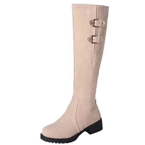 Hiver Bottes Eclair Chaudes Chevalier Beige Fermeture Hautes De Boots Taoffen Femmes XyUqgWcAB5