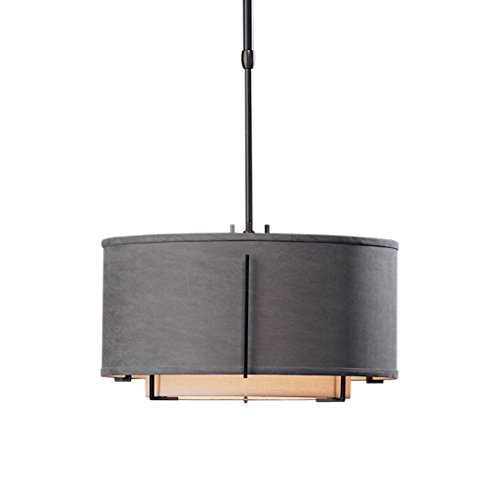 Hubbardton Forge 139602-10-DBAB Exos Double Shade Drum Pendant with Standard Doeskin Suede Shade, Small, Doeskin Suede, Black Finish