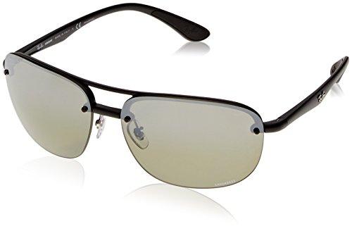 (Ray-Ban Men's RB4275CH Chromance Mirrored Square Sunglasses, Matte Black/Polarized Silver Gradient Mirror, 63 mm)