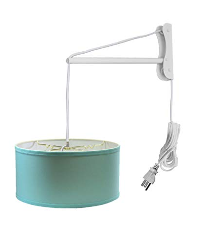 MAST Plug-in Wall Mount Pendant, 2 Light White Cord/Arm with Diffuser, Island Paridise Blue Shade 14x14x07 ()