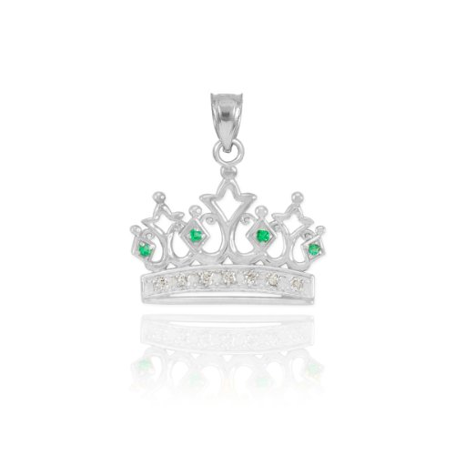 Dainty 10k White Gold Emerald and Diamond Tiara Charm Crown Necklace Pendant