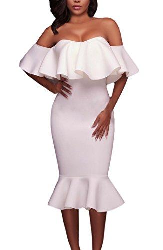 Battercake Abendkleider Damen Fashion Festlich Meerjungfrau Kleid Elegant  Hübsch Schulterfrei Wort Kragen Casual Frauen mit Rüschen a687e3e2bd