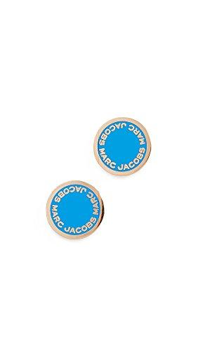 Marc Jacobs Women's Logo Disc Stud Earrings, Sapphire, One Size