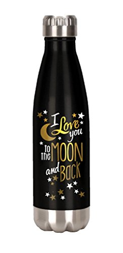 Spoontiques Moon and Back Stainless Steel Water Bottle, Black