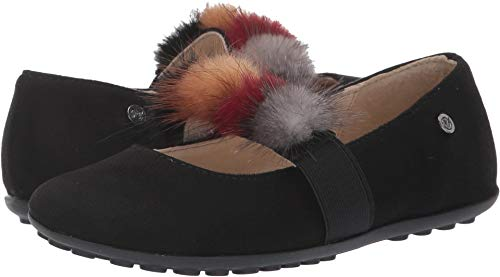 - Naturino Girl's Faux Fur Pom Pom Slip-On Elastic Band Mary Jane Flat (Black Suede, 28 M EU/11 M US Little Kid)