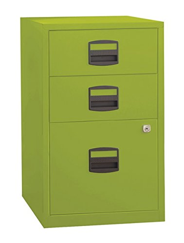 Bisley Three Drawer Steel Home Filing Cabinet, Green (FILE3-GR) by Bisley
