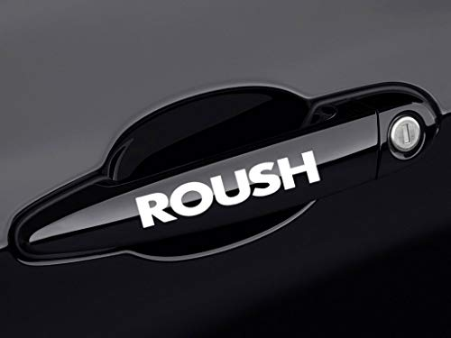 ReplaceMyParts ROUSH Racing Door Handle Decal Sticker Emblem Logo for Ford Mustang, 2 Pieces, White ()