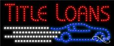 11 x 27 x 1 inches Title Loans LED Sign Made in USA