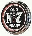 "JACK DANIELS OLD No 7 WHISKEY 15"" NEON WALL CLOCK SIGN ORANGE"