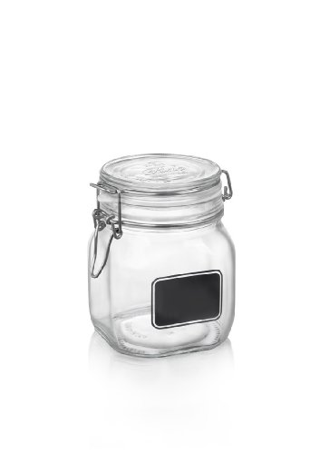 Bormioli Rocco Fido Square Clear Jar with Chalkboard, 25-1/4
