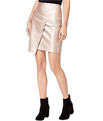 Bar III Womens Metallic Asymmetric Mini Skirt