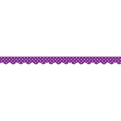 Teacher Created Resources Purple Polka Dots Scalloped Border Trim