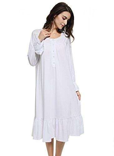 Cotton Lawn Long Gown (Mobisi Women's White Cotton Victorian Vintage Nightgown Long Sleeve Martha Lawn Ballet Sleep Shirt Dress(S,White))