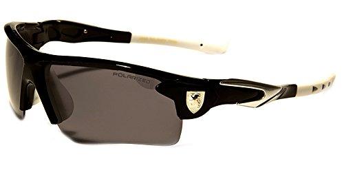 2017 Adult Men Women 133 mm POLARIZED Baseball Cycling Fishing Sunglasses (Black/White Tips, Smoke Grey)
