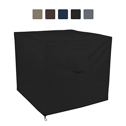 COVERS & ALL Air Conditioner Cover 12 Oz Waterproof - 100% UV & Weather Resistant PVC Coated Outdoor Furniture Cover with Air Pockets & Drawstring for Snug Fit (24W x 24D x 22H, Black)