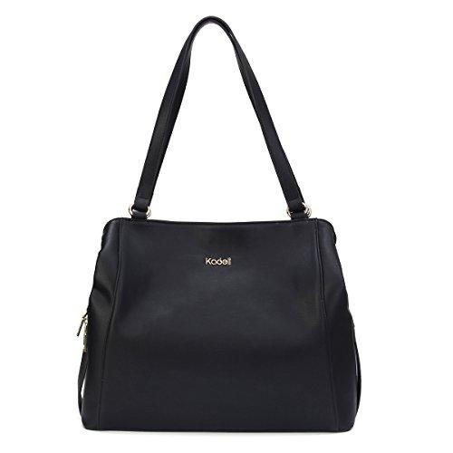 Hardware Large Silver (Kadell Women Leather Tote Bag Large Capacity Handbag Shoulder Satchel for Ladies Black)