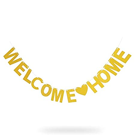 Welcome Home Banner,Gold Glitter Bunting Banner for Home Party Decoration