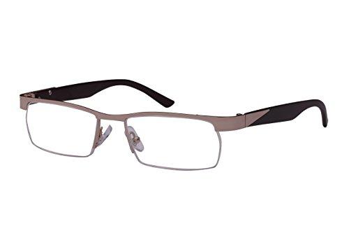 Edge I-Wear Classic Rectangular Half Rimmed Unisex Metal Two Tone Reading Glasses 25053-+2.00-4 ()