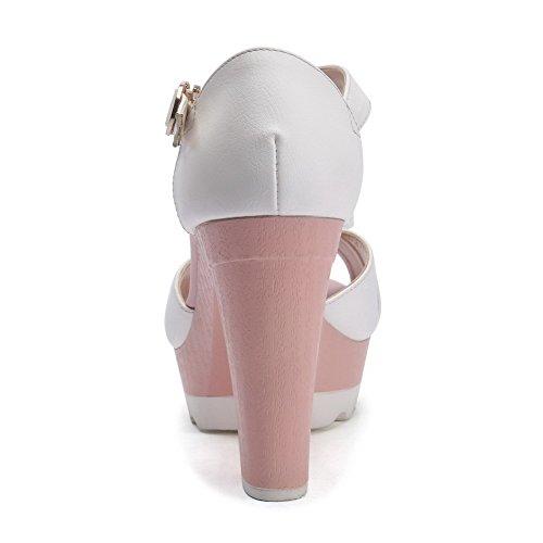 Amoonyfashion Mujeres Peep Toe Hebilla De Cuero De Vaca Assorted Color High Heels Sandalias Beige