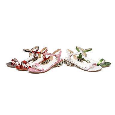 Señoras Sandalias Sandalias primavera verano Casual tacón bajo de piel sintética suela de luz verde rosa rojo blanco champán rojo
