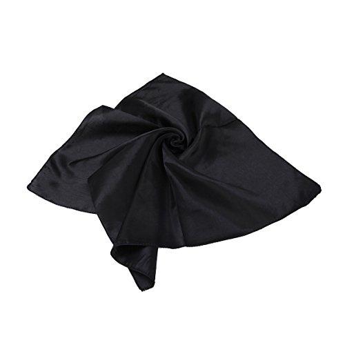 TrendsBlue Elegant Silk Feel Solid Color Satin Square Scarf, - Square Solid Black