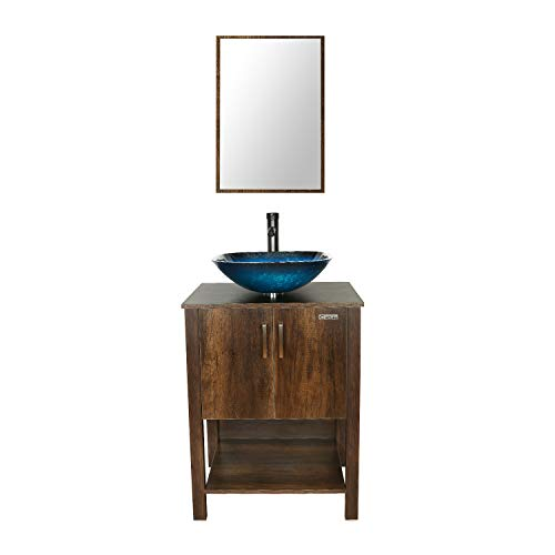 eclife 24'' Bathroom Vanity Sink Combo Brown Cabinet Vanity Ocean Blue Square Tempered Glass Vessel Sink & 1.5 GPM Water Save Faucet & Solid Brass Pop Up Drain,With Mirror (A04 B12C)